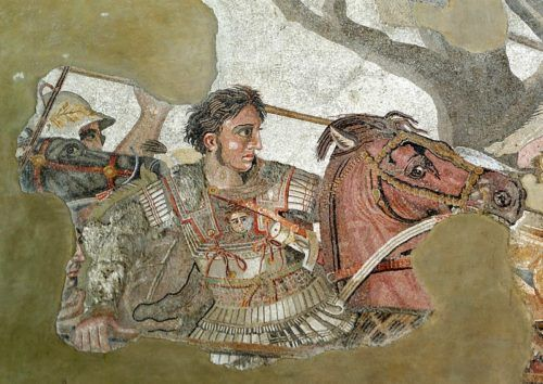 800px-Alexander_and_Bucephalus_-_Battle_of_Issus_mosaic_-_Museo_Archeologico_Nazionale_-_Naples_BW